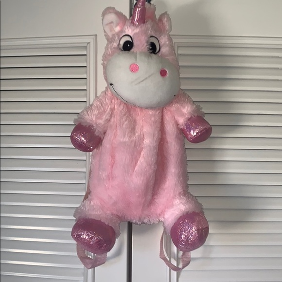 Fuzzy Pink Unicorn Backpack
